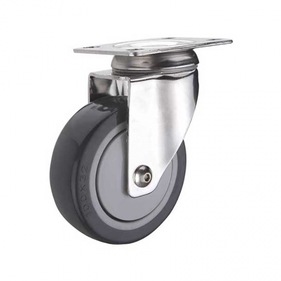 Medium duty stainless polyurethane bolt hole caster
