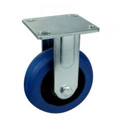 Fixed/Rigid Blue Rubber Casters Wheels
