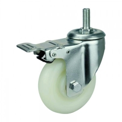 threaded stem PP caster wheel with double brakes