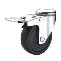 Black hard rubber bolt hole swivel caster wheel with double brakes