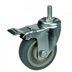 gray TPR caster wheel threaded stem with double brakes