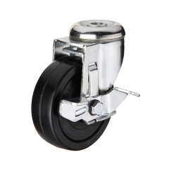 Black hard rubber bolt hole swivel caster wheel with side brake