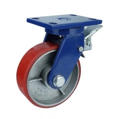 Cast iron core polyurethane swivel caster wheel with brake