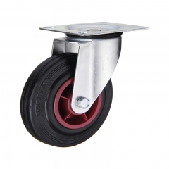 Industrial plastic core rubber caster wheel