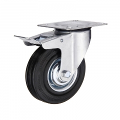 Rubber Caster Wheel With Brakes