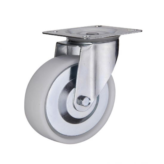Threaded stem plastic PP caster wheel with double brakes