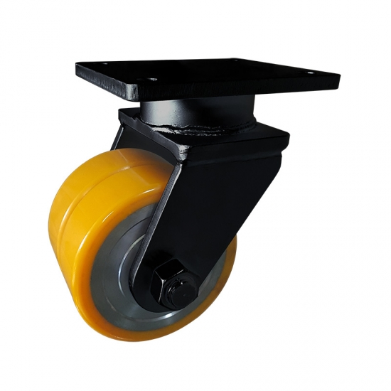 Super heavy duty PU twin-wheel caster wheel