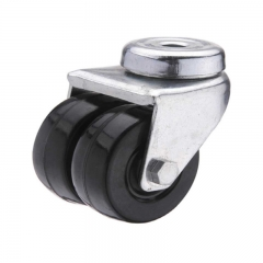 Hard rubber bolt hole twin-wheel caster