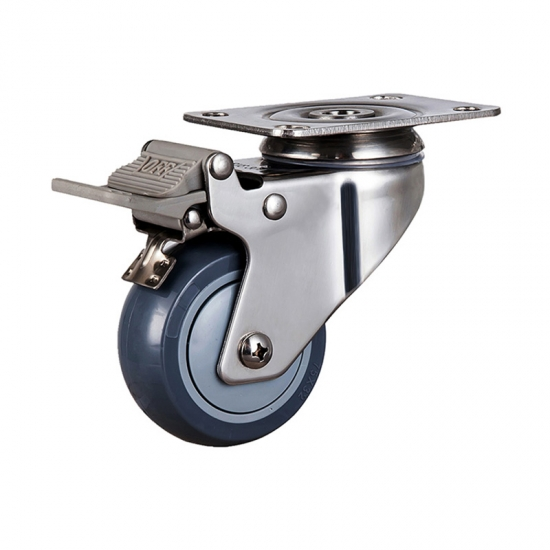 Light duty stainless caster with total brake