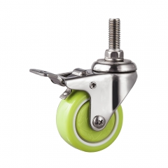 Light duty stainless steel pu threaded stem swivel caster with total brake