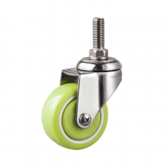 Light duty stainless steel pu threaded stem swivel caster