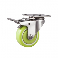Light duty stainless steel pu swivel caster with total brake