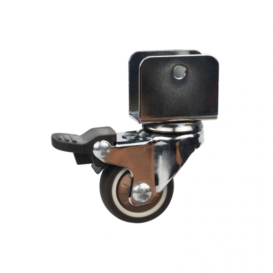 Light duty u bracket swivel brown TPR caster wheel