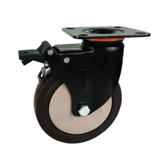 Medium-heavy duty tpr swivel caster with brake