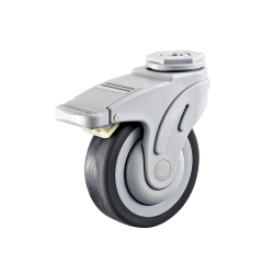 Flat Tread Bolt Hole Medical Locking Caster Wheel